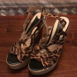 Boutique 9 Leopard Pony Hair Wedges